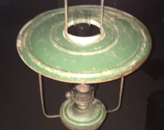 Antique Hanging Metal Oil Kerosene Shop Lamp in Old Green Paint