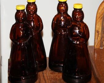 Vintage 1969-1971 Mrs. Butterworth's Maple Syrup Amber Glass Bottles; Original Caps, Figural Bottle, Collectible, Similar to Aunt Jemima