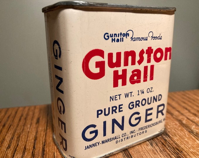 Vintage 1950s Spice Tin: Gunston Hall GINGER 1.25 oz, Old Stock, Never Used, Great Colors! Full Contents