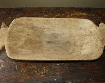 Antique Country Primitive Carved Wooden Dough Bowl; 19th Century Hand Hewn Trencher