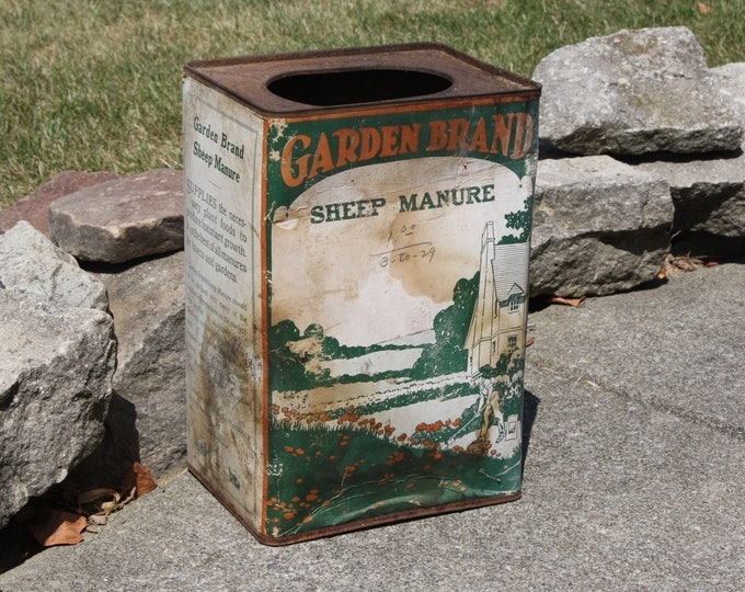Vintage 1930s Advertising Can: Garden Brand Sheep Manure