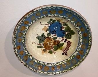 Antique Primitive Slip Decorated Redware Pottery Bowl