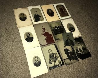 Lot of 13 Antique Victorian Period Tintype Photographs; Original Civil War Era Tin Types; 1860s-1870s Ferrotypes