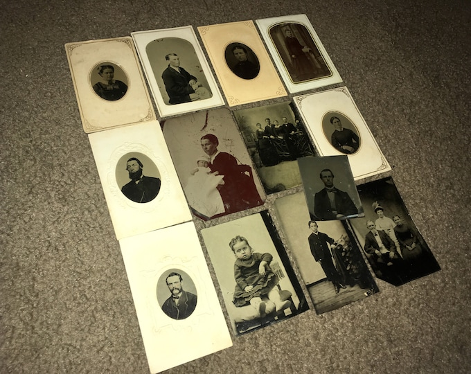 Lot of 13 Antique Victorian Period Tintype Photographs; Original Civil War Era Tin Types; 1860s-1870s Ferrotypes