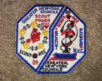 Vintage 1969 Boy Scout Patches: Greater New York Council Scout-O-Ree; Scout Power; 2-Patch Set; Never Used!