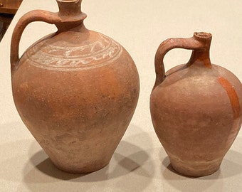 Pair of 19th Century Ovoid Redware Jugs; Antique Glaze, Slip Decorated Folk Pottery