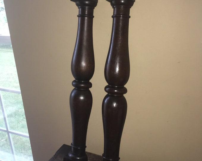 Pair of Antique Mahogany Faux Wooden Columns; Old Furniture Pillars, Decor
