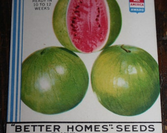Set of 7 Vintage Watermelon Seed Packets; New Old Stock, Never Used, Authentic Old Packs