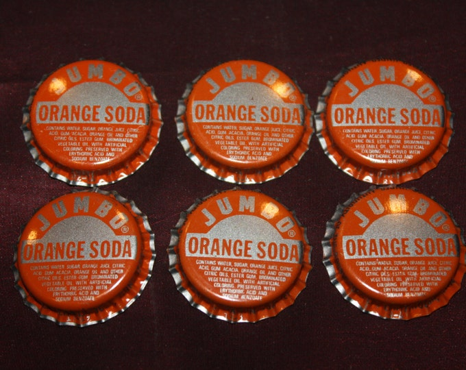 Lot of 6 Vintage JUMBO ORANGE SODA Bottle Caps, Unused, Double Cola Co., Chattanooga Tennessee; New Old Stock 1960s