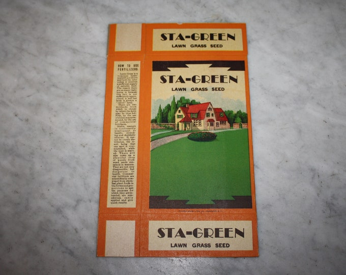 Vintage 1920s STA-GREEN Grass Seed Box! NOS Original Advertising, Genesee Valley Seed Co. Old Stock