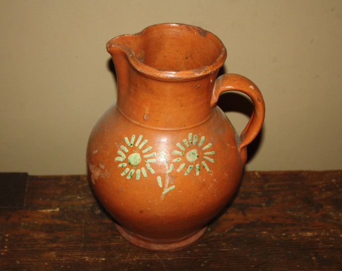 Antique Country Primitive Redware Pottery Pitcher; Slip Decorated, Lead Glazed, 19th Century, M