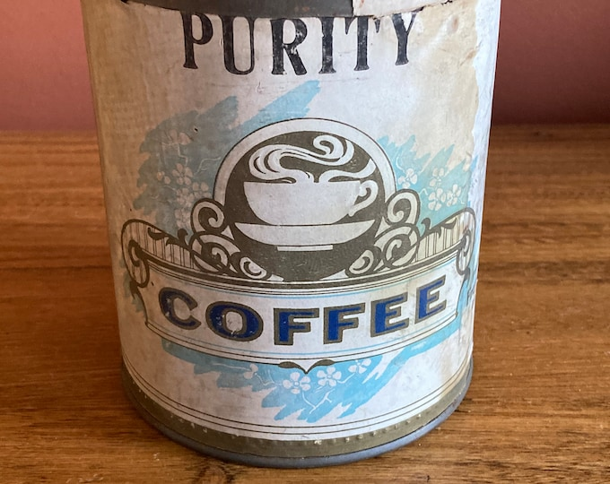 Vintage 1920s PURITY COFFEE 1lb Tin Can with Original Paper Label; Frey-Weaver Co., Lancaster, Pennsylvania