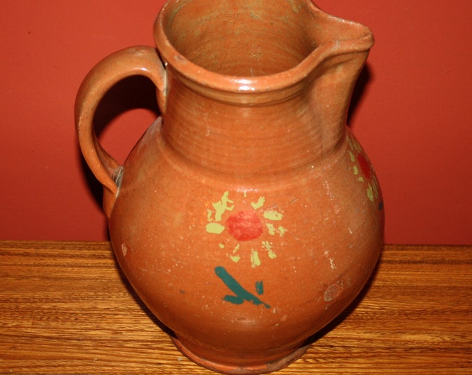 Antique Country Primitive Redware Folk Pottery Pitcher; 19th Century Decorated Red Clay Vessel