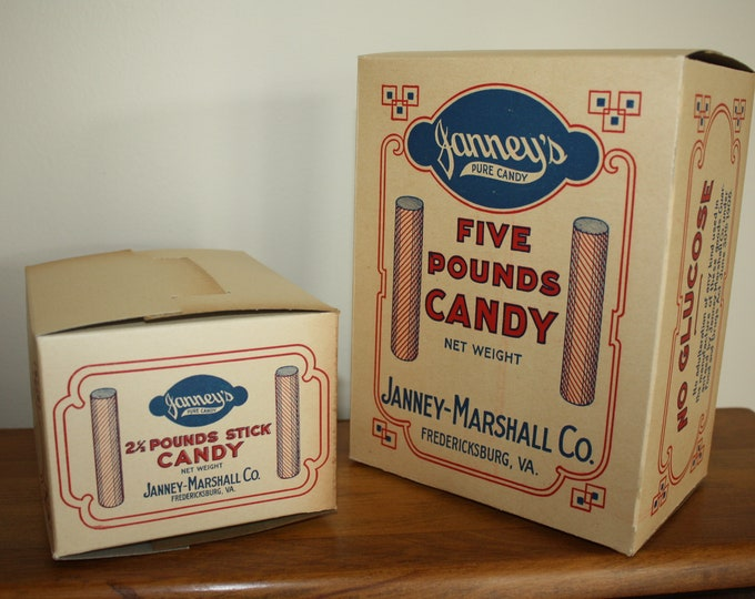 Pair of Cardboard 100+ Year Old Janney's Stick Candy Boxes; Country Store, Old Stock, Never Used, Janny-Marshall Co., Fredericksburg, VA