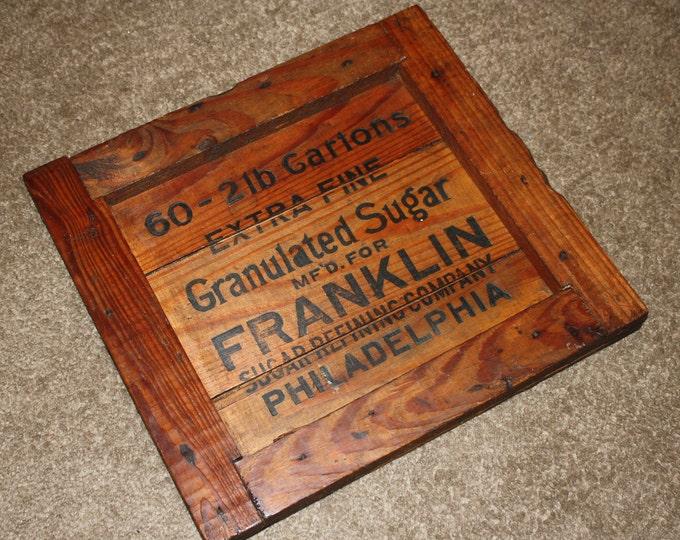 Antique Wooden Crate End Sign: Franklin Sugar Co. Philadelphia; Primitive, Rustic, Farmhouse