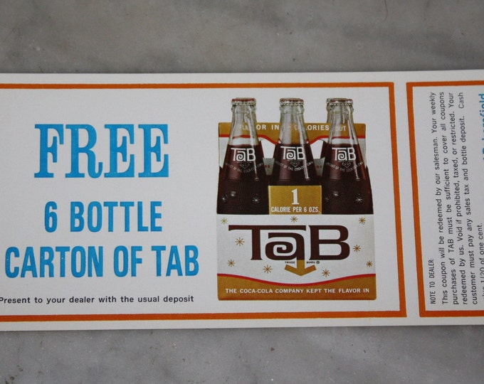 Vintage 1963 Tab Cola: Original Free 6 Pack Coupon