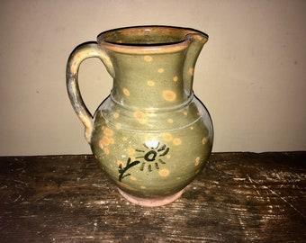 Antique Country Primitive Folk Pottery Mottled Redware Pitcher 19th Century