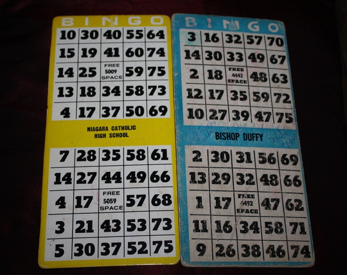 2 Vintage Catholic Church School Bingo Game Boards
