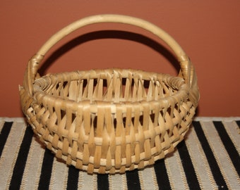 Handmade Wooden Basket with Handle; Splint, Gathering, Market, Ribbed, Buttocks Style, God's Eye Crossing