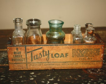 Antique Wooden Cheese Box with 6 Old Bottles to Display