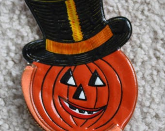 NOS Vintage Halloween Jack O Lantern Coin Purse, 1950s New Old Stock, Pumpkin with Top Hat; From Barton's Candies NYC
