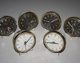 Lot of 6 Vintage 1950s - Early '60s Westclox Baby Ben Alarm Clocks, 2 Working; for Restoration, Parts, Repurpose, Crafts, Decor; Mid Century
