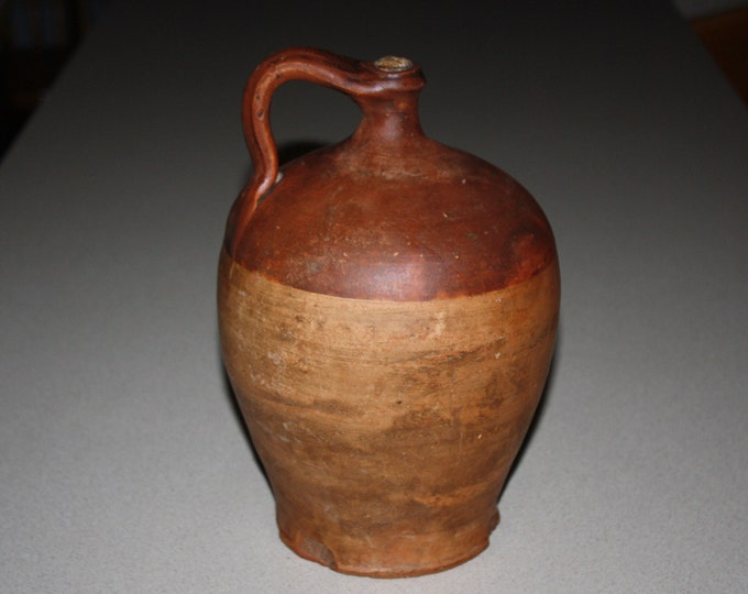 Antique Country Primitive Ovoid Redware Jug; 19th Century Folk Pottery