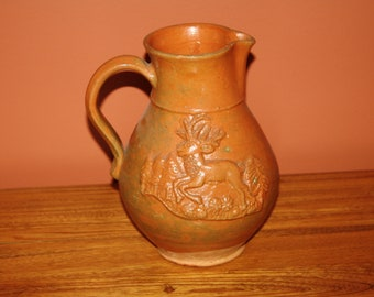 Rare Antique Primitive Redware Pottery Pitcher with Applied Reindeer & Forest Decorations