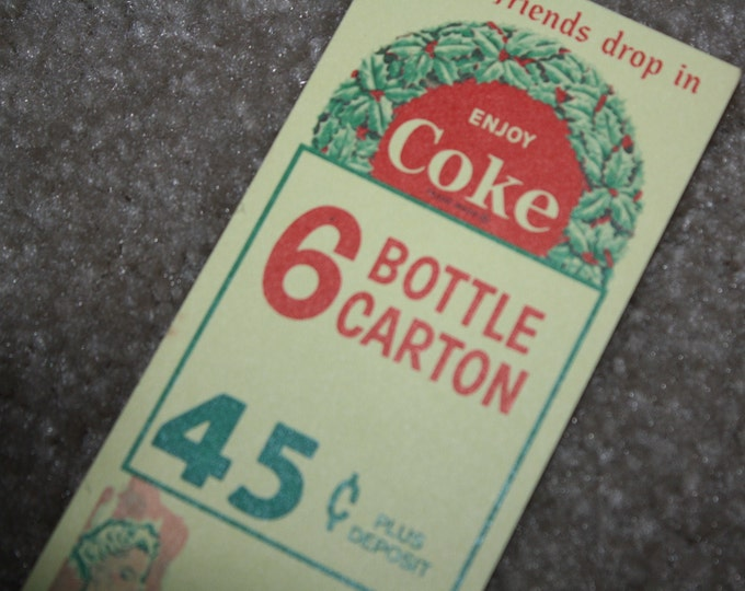Vintage Late 1950s Coca Cola Carton Advertising Insert; NOS Coke 6 Pack Promotion
