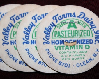 Lot of Unused Vintage 1950s Milk Bottle Caps from Old Olean N.Y. Dairy: Valley Farms Dairy Inc.