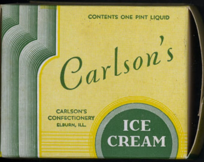 Vintage 1930s Carlson's Ice Cream Box; New Old Stock, Carlson's Confectionery Co, Elburn, Ill; Never Used, Warehouse Find!