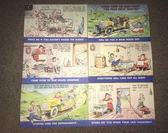 Vintage 1940s Hillbilly Humor Postcards: Luther Jakie Irby, Artist; Bursheen-Finish Linen, NOS Unused Unsold Store Stock; Set of 6!