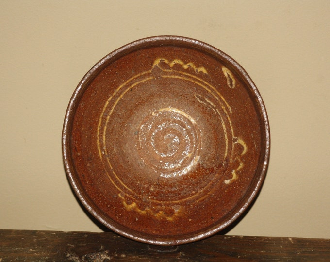 Antique Primitive Slip Decorated Redware Bowl; 19th Century Earthenware Footed Red Clay Footed Dish