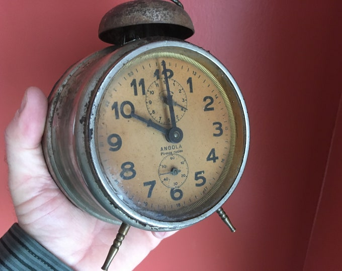 Antique European Peg Leg Wind-Up Mechanical Alarm Clock; 1920s German, distressed primitive look, decorative, Lithuania