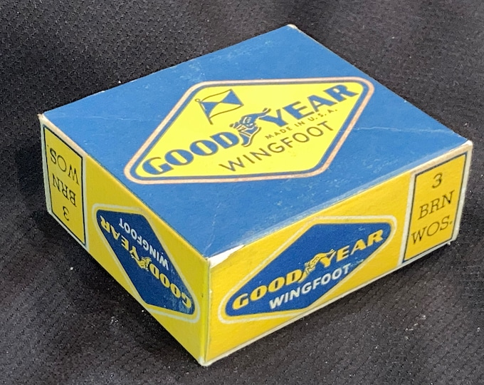 Vintage 1940 Goodyear Wingfoot Rubber Heels in Original Box; Old Store Stock! NOS Advertising