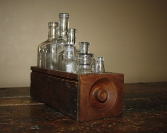 Antique Wooden Sewing Machine Cabinet Drawer with 8 Antique Bottles! Unique Vintage Decor!