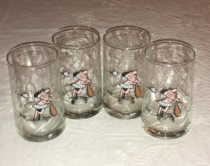 Set of 4 Arby's 1981 B.C. Ice Age Collector Series Promotional Glasses, Baseball Coach B.C. Comics Character