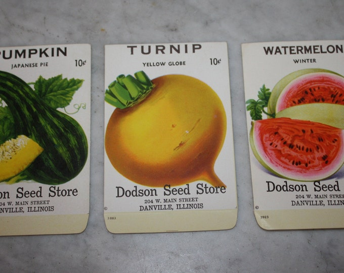 Set of 3 Vintage Lithographed Fruit & Vegetable Seed Packets, Dodson Seed Store, Dansville Ill. Never Used Warehouse Find! NOS 1940s