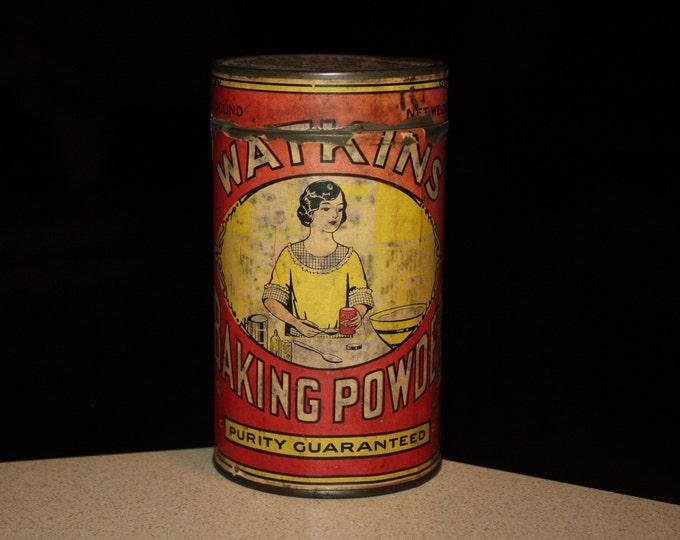 Antique Watkins Baking Powder Advertising Tin with Original Paper Label