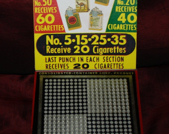 Vintage 1930s Old Stock 5 Cent Punch Board with Cigarette Advertising; NOS Warehouse Find; Gambling Punchboard