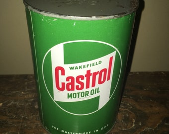 Vintage 1950s Wakefield Castrol Motor Oil NOS Quart Metal Can SAE-70 Old Stock