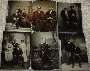 Lot of 6 Antique Victorian Period Tintype Photographs; Original Civil War Era Tin Types; 1860s-1870s Ferrotypes
