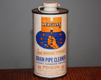 Vintage 1963 Hercules Drain Pipe Cleaner; Unused Old Store Stock; NOS Advertising;  Metal Tin Can Poison warning skull crossbones