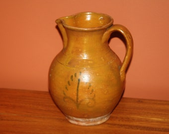 Antique Country Primitive Redware Pottery Pitcher; 19th Century Lead Glazed, Floral Decoration