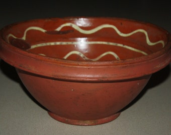 Antique Country Primitive Redware Pottery Bowl; 19th Century Slip Decorated Red Clay Mixing Bowl; Old Vintage Folk Pottery