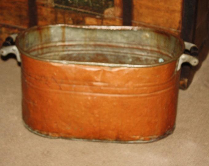 Antique Country Primitive Copper Boiler Wash Tub