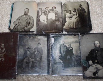 Lot of 7 Antique Victorian Period Tintype Photographs; Original Civil War Era Tin Types; 1860s-1870s Ferrotypes