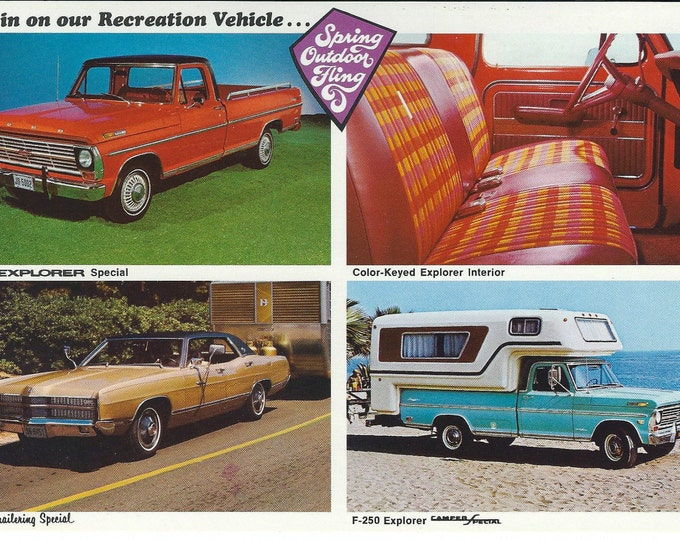 Vintage Unused 1969 Ford Dealer Postcard: F-100 Special, F-250 Camper Special, LTD Trailering Special; Scarce Promotional Sales Literature