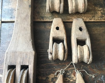 Lot of 7 Antique Primitive Carved Wooden Pulleys from Weaving Looms