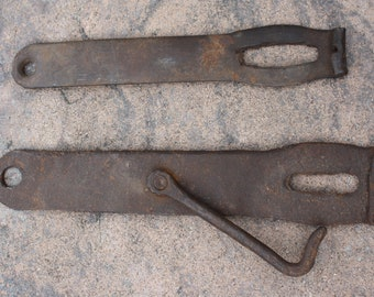 Pair of 18th Century Forged Iron Barn Door Latches; Blacksmith Hand Wrought